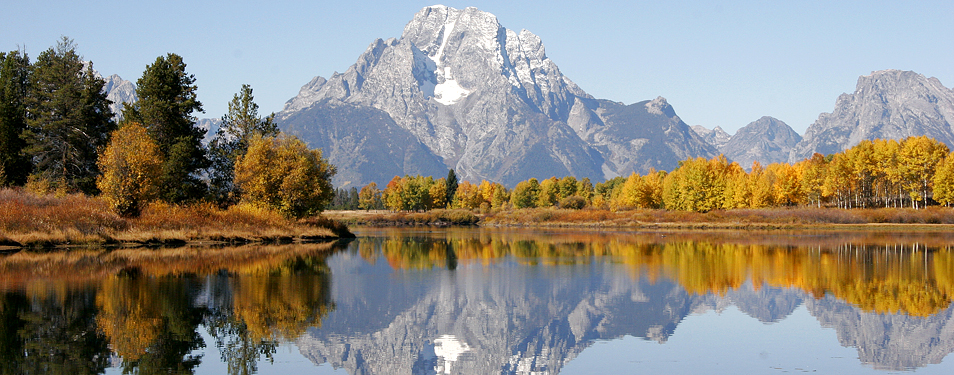 Mount Moran With Fall Foliage Is Reflected In The Snake River At The Oxbow Bend In Grand Teton National Park