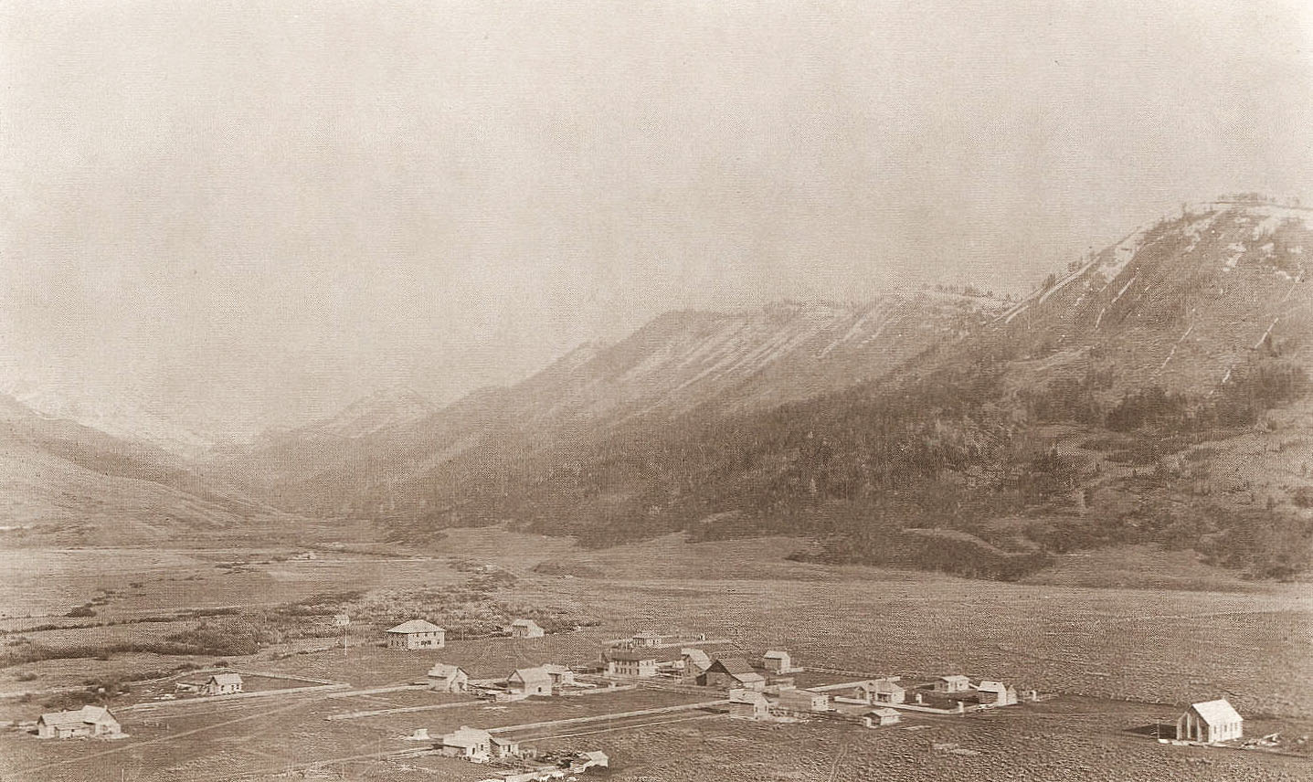 An historic photo of Jackson Hole, Wyoming taken in 1907.