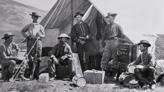 Hayden Expedition Camp in 1872 taken by William Henry Jackson