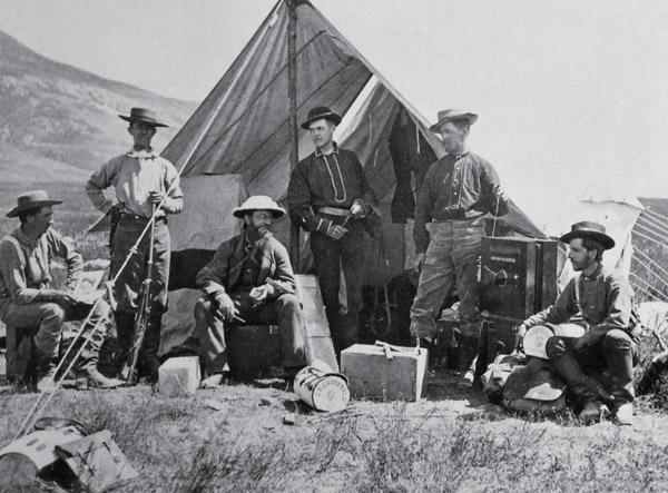 Hayden Expedition Camp in 1872 taken by William Henry Jackson