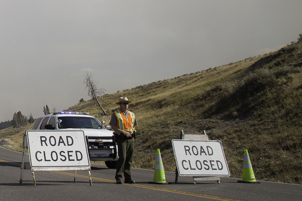 road closed sign in jackson hole