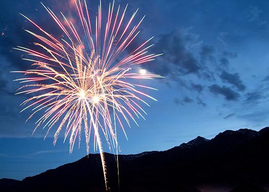 Fireworks Explode over Jackson Hole Mountain Resort as Jackson Hole Celebrates The Fourth Of July