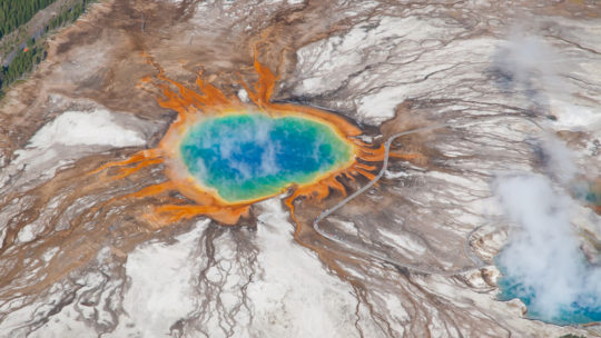 The Rainbow Colors Of The Grand Prismatic Spring As Seen From The Air