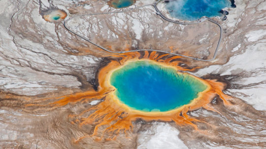 An Aerial View Of The Rainbow Colors Of The Grand Prismatic Spring In Yellowstone National Park