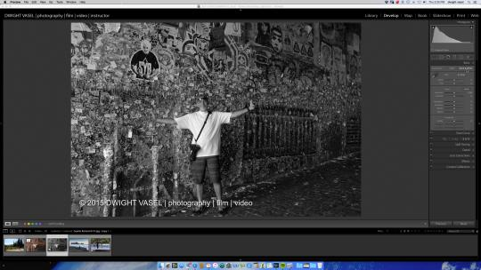 black and white photo in lightroom