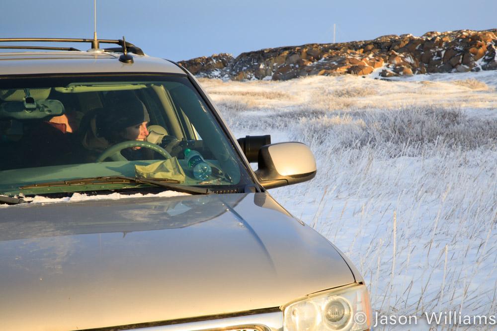 Suburban in the snow on a polar bear expedition