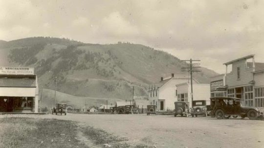 Downtown Jackson Hole As It Was In 1920 With Crabtree Hotel and Mercill Merchandise Visible