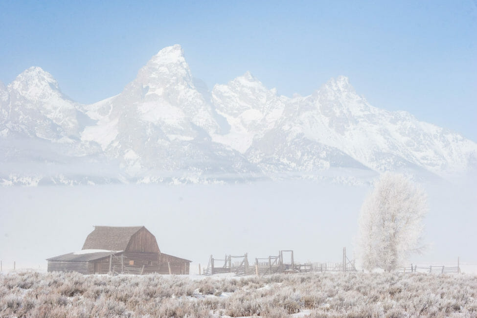 Historic barns in Grand Teton National Park in winter