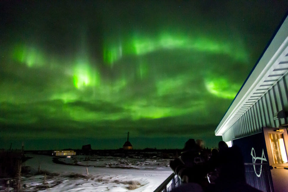 The Aurora Borealis Lights Up The Night Sky In Churchill Manitoba