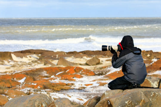 Photographer along the Hudson Bay near Churchill Manitoba.