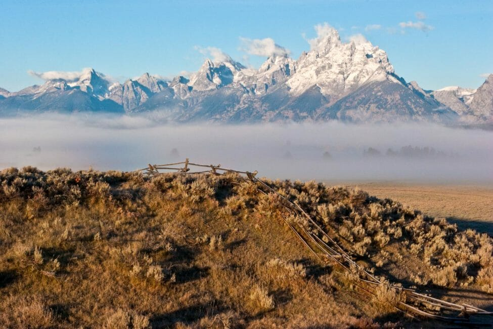 The tetons with a light dusting of snow.