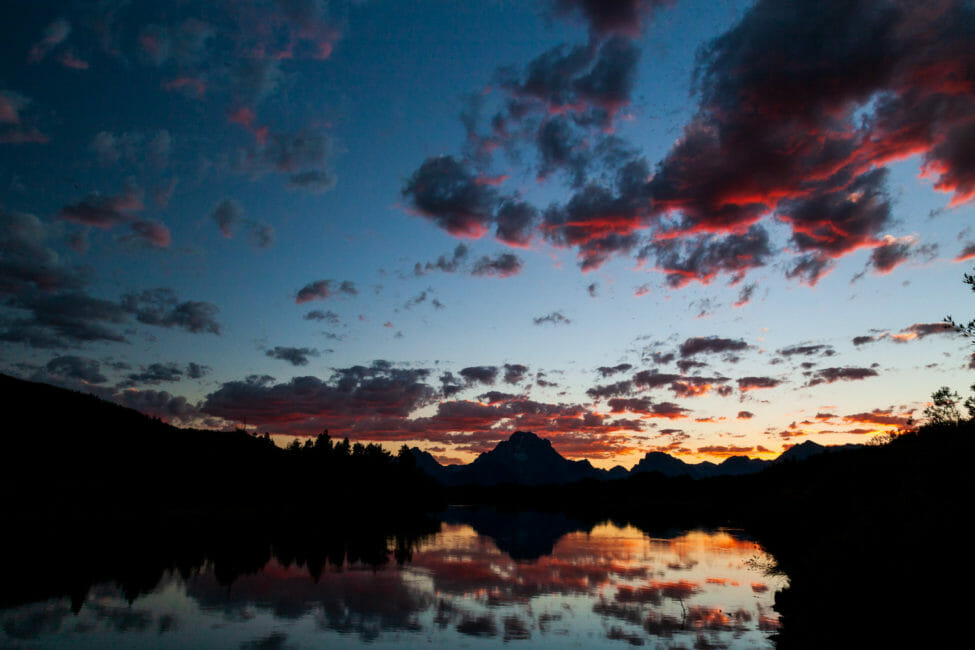 Mount Moran and the northern Teton Range reflected in Oxbow Bend