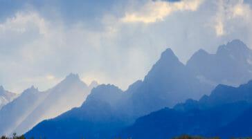 The Teton Range provides a dramatic background in Jackson Hole.