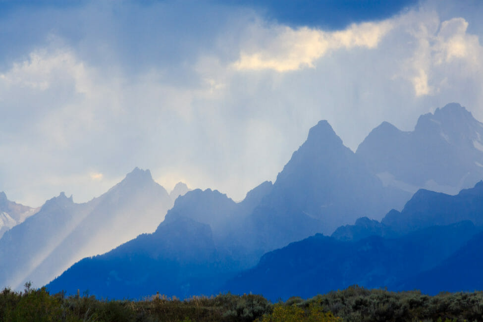 The Teton Range provides a dramatic background in Jackson Hole.