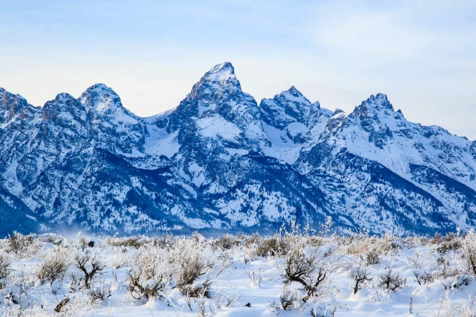 Teton Range seen from the middle of Jackson Hole