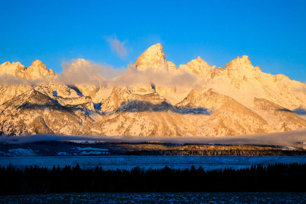 Grand Tetons in winter Jackson Hole Wyoming