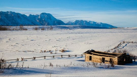 Shane cabin grand teton national park in winter