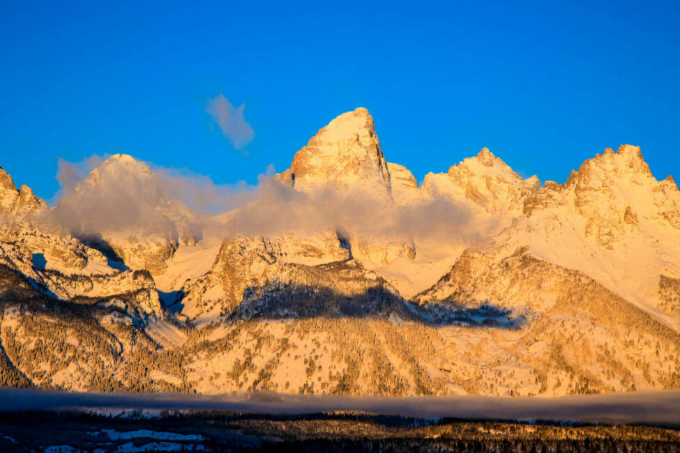 Sunrise on the Teton Range during winter in Jackson Hole