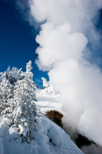 Geyser basin during winter in Yellowstone National Park