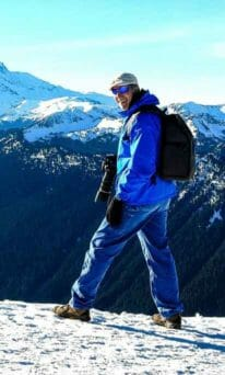 Dwight Vasel hiking up a mountain.