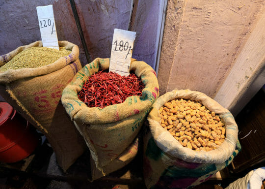 peanuts and spices in large bags for sale in India