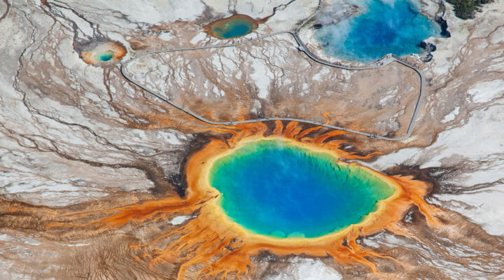 The Grand Prismatic Spring Is A Rainbow Of Colors In Yellowstone National Park