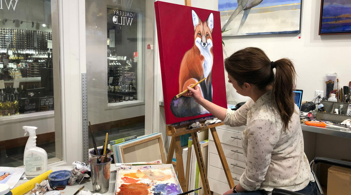 Contemporary Wildlife Artist Carrie Wild Paints In Her Studio At Gallery Wild In Jackson Hole Wyoming